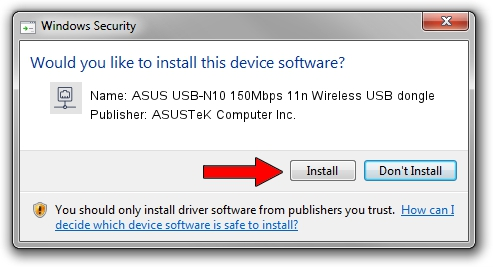ASUSTeK Computer Inc. ASUS USB-N10 150Mbps 11n Wireless USB dongle driver installation 628577