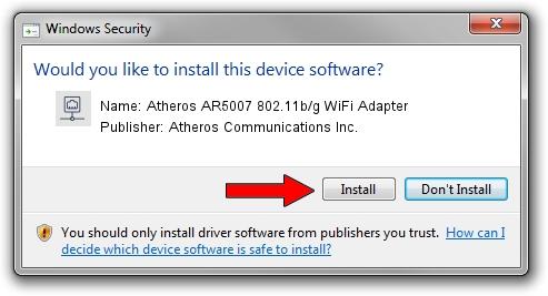 Atheros Communications Inc. Atheros AR5007 802.11b/g WiFi Adapter setup file 37913