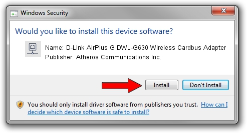 Atheros Communications Inc. D-Link AirPlus G DWL-G630 Wireless Cardbus Adapter setup file 38124