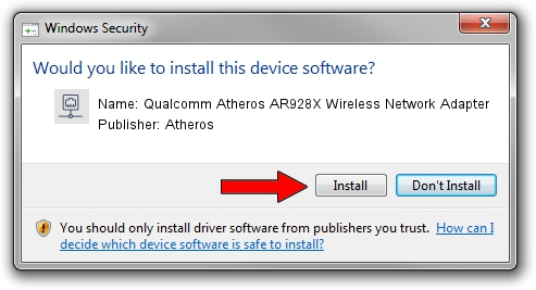 Atheros Qualcomm Atheros AR928X Wireless Network Adapter driver installation 20533