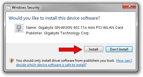 Gigabyte Technology Corp. Gigabyte GN-WI30N 802.11n mini PCI WLAN Card setup file 16821