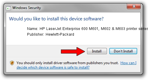 Hewlett-Packard HP LaserJet Enterprise 600 M601, M602 & M603 printer series DOT4PAR driver installation 12830