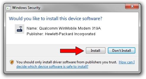 Hewlett-Packard Incorporated Qualcomm WinMobile Modem 319A driver installation 25825