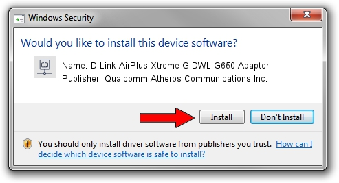 Qualcomm Atheros Communications Inc. D-Link AirPlus Xtreme G DWL-G650 Adapter setup file 30885