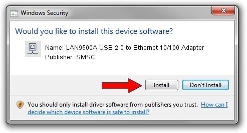 SMSC LAN9500A USB 2.0 to Ethernet 10/100 Adapter setup file 579327