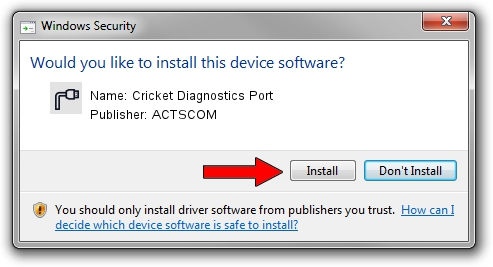 ACTSCOM Cricket Diagnostics Port driver installation 1416867