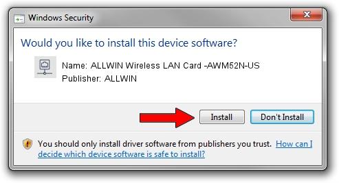 ALLWIN ALLWIN Wireless LAN Card -AWM52N-US driver installation 1932744
