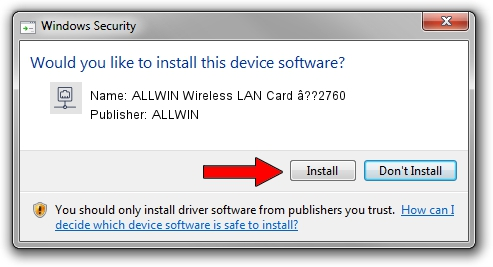 ALLWIN ALLWIN Wireless LAN Card â??2760 driver installation 1105112