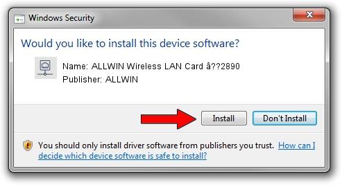ALLWIN ALLWIN Wireless LAN Card â??2890 driver installation 1105100