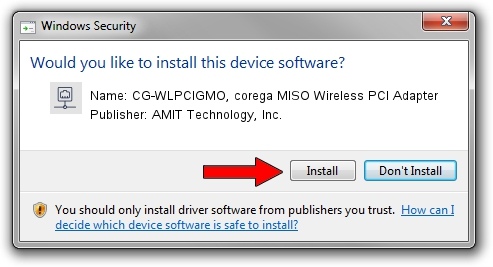 AMIT Technology, Inc. CG-WLPCIGMO, corega MISO Wireless PCI Adapter driver installation 68789