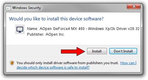 AOpen Inc. AOpen GeForce4 MX 460 - Windows Xp/2k Driver v28.32 driver installation 1436775