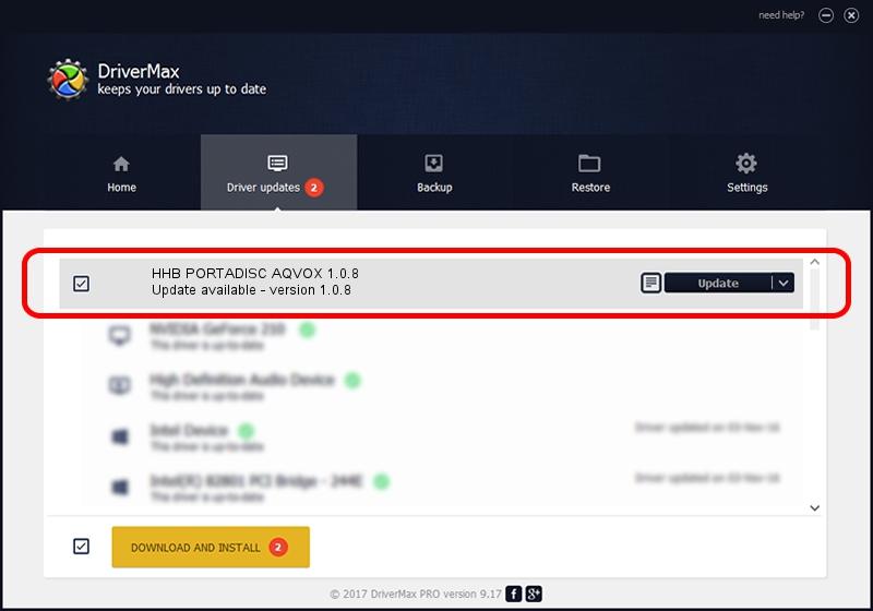 AQVOX HHB PORTADISC AQVOX 1.0.8 driver update 1391811 using DriverMax