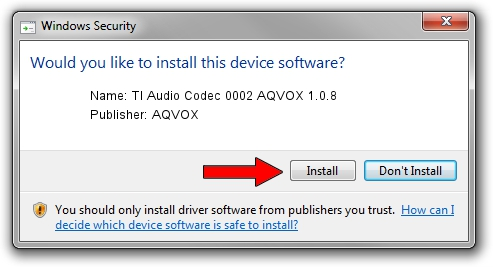 AQVOX TI Audio Codec 0002 AQVOX 1.0.8 driver installation 1391793