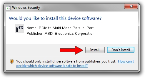 ASIX Electronics Corporation PCIe to Multi Mode Parallel Port setup file 1414174