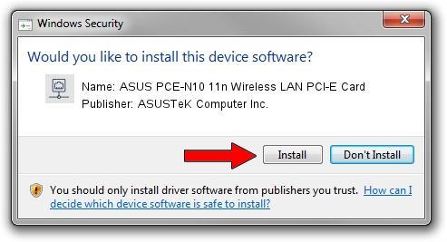 ASUSTeK Computer Inc. ASUS PCE-N10 11n Wireless LAN PCI-E Card driver installation 590831