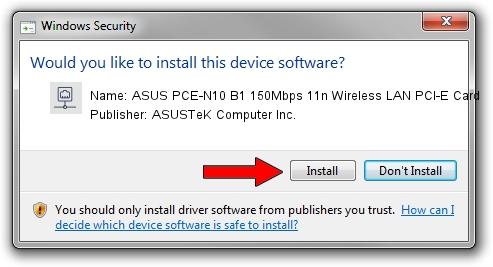 ASUSTeK Computer Inc. ASUS PCE-N10 B1 150Mbps 11n Wireless LAN PCI-E Card driver installation 1154577