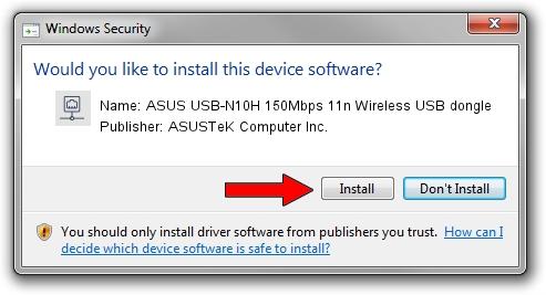 ASUSTeK Computer Inc. ASUS USB-N10H 150Mbps 11n Wireless USB dongle setup file 1158092