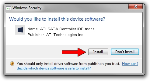ATI Technologies Inc ATI SATA Controller IDE mode driver installation 1423391