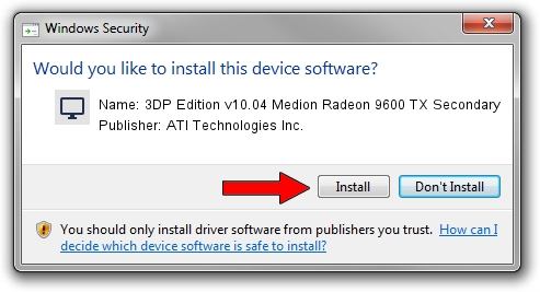 ATI Technologies Inc. 3DP Edition v10.04 Medion Radeon 9600 TX Secondary driver installation 1050954