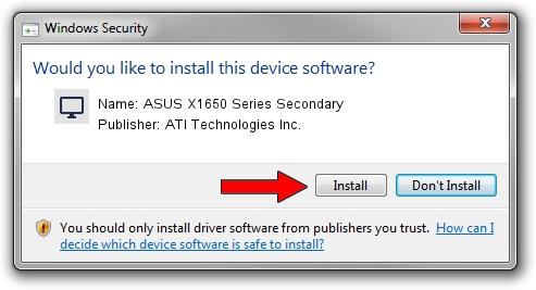 ATI Technologies Inc. ASUS X1650 Series Secondary driver installation 1780521