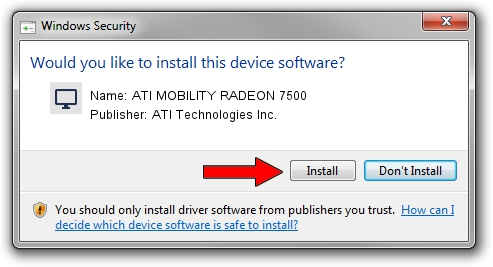 ATI Technologies Inc. ATI MOBILITY RADEON 7500 setup file 986544