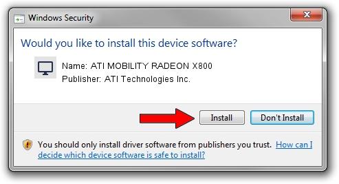 ATI Technologies Inc. ATI MOBILITY RADEON X800 driver installation 1389521