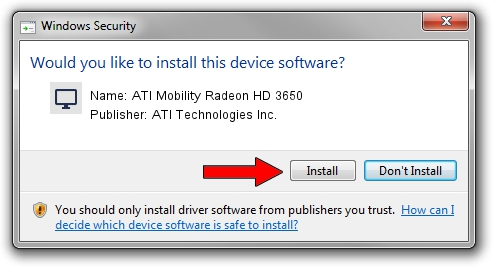 ATI Technologies Inc. ATI Mobility Radeon HD 3650 driver installation 1212422