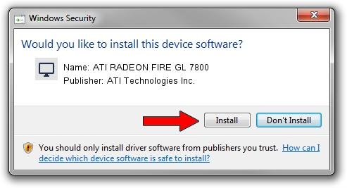 ATI Technologies Inc. ATI RADEON FIRE GL 7800 driver installation 1506615