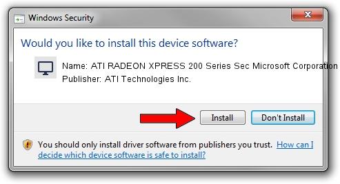 ATI Technologies Inc. ATI RADEON XPRESS 200 Series Sec Microsoft Corporation driver installation 1384103