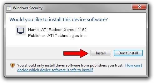 ATI Technologies Inc. ATI Radeon Xpress 1150 driver installation 1416471