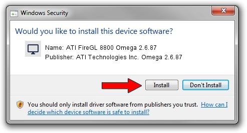 ATI Technologies Inc. Omega 2.6.87 ATI FireGL 8800 Omega 2.6.87 setup file 986498