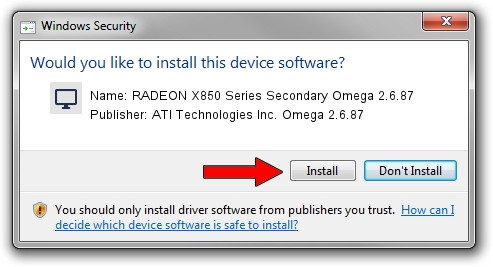 ATI Technologies Inc. Omega 2.6.87 RADEON X850 Series Secondary Omega 2.6.87 setup file 1440840