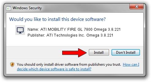 ATI Technologies Inc. Omega 3.8.221 ATI MOBILITY FIRE GL 7800 Omega 3.8.221 driver installation 1421482
