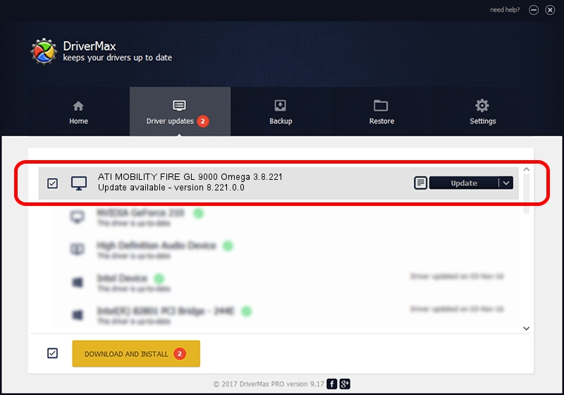 ATI Technologies Inc. Omega 3.8.221 ATI MOBILITY FIRE GL 9000 Omega 3.8.221 driver update 1421474 using DriverMax
