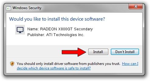 ATI Technologies Inc. RADEON X800GT Secondary driver installation 1051242