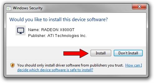 ATI Technologies Inc. RADEON X800GT driver installation 1051301