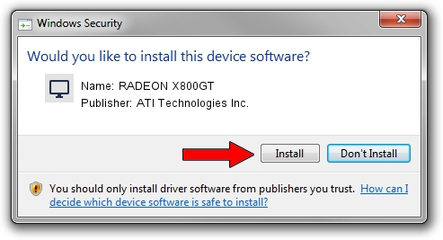 ATI Technologies Inc. RADEON X800GT driver installation 2097152