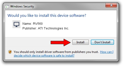 ATI Technologies Inc. RV560 driver installation 1212805