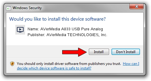AVerMedia TECHNOLOGIES, Inc. AVerMedia A833 USB Pure Analog driver installation 1412525