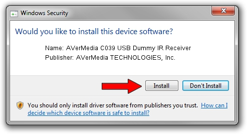 AVerMedia TECHNOLOGIES, Inc. AVerMedia C039 USB Dummy IR Receiver driver installation 1389191