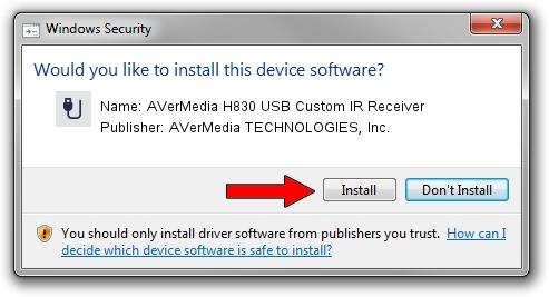 AVerMedia TECHNOLOGIES, Inc. AVerMedia H830 USB Custom IR Receiver setup file 1444065