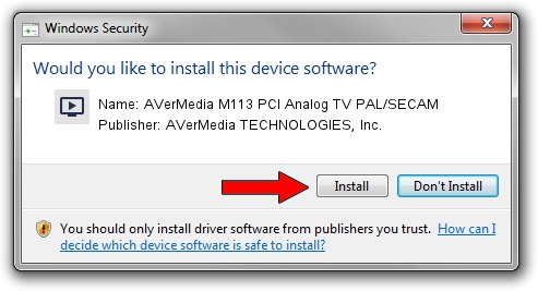 AVerMedia TECHNOLOGIES, Inc. AVerMedia M113 PCI Analog TV PAL/SECAM driver installation 1434965
