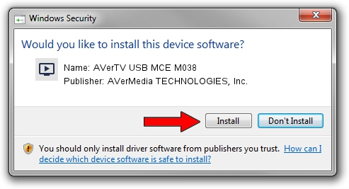 AVerMedia TECHNOLOGIES, Inc. AVerTV USB MCE M038 setup file 1572372