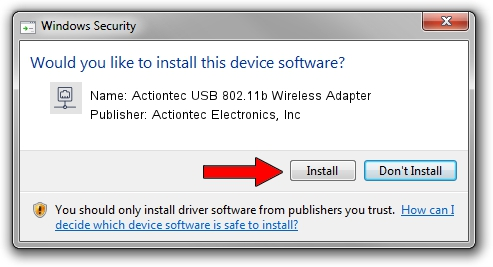 Actiontec Electronics, Inc Actiontec USB 802.11b Wireless Adapter driver download 1640344