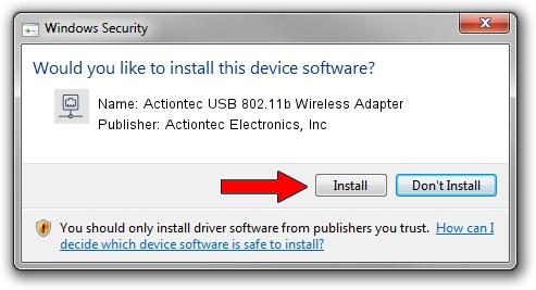 Actiontec Electronics, Inc Actiontec USB 802.11b Wireless Adapter setup file 1640349