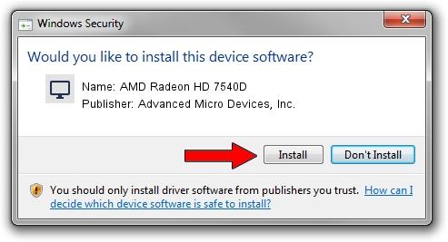 Advanced Micro Devices, Inc. AMD Radeon HD 7540D driver installation 1391199