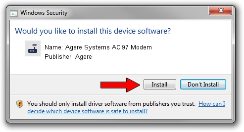Agere Agere Systems AC'97 Modem driver installation 1569923