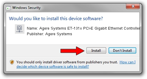 Agere Systems Agere Systems ET-131x PCI-E Gigabit Ethernet Controller driver installation 1416706