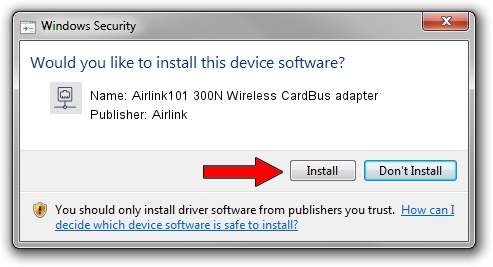 Airlink Airlink101 300N Wireless CardBus adapter setup file 1637043