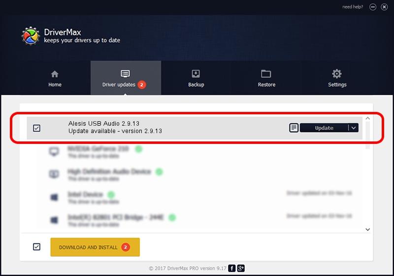 Alesis Alesis USB Audio 2.9.13 driver update 1393875 using DriverMax